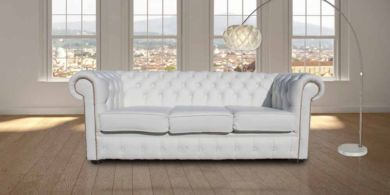 Chesterfield 3 Seater Sofa Settee White Leather Brass Studs
