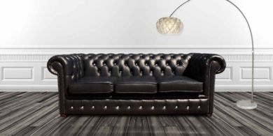 Chesterfield 3 Seater CRYSTALLIZED™ Diamond Black Leather Sofa Offer