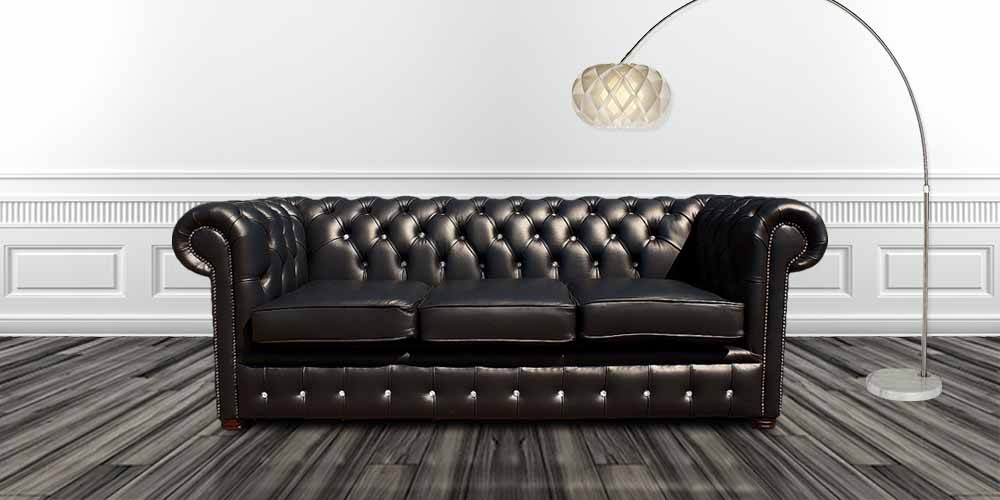Black Leather Chesterfield 3 Seater CRYSTALLIZED™ Diamond Sofa Offer