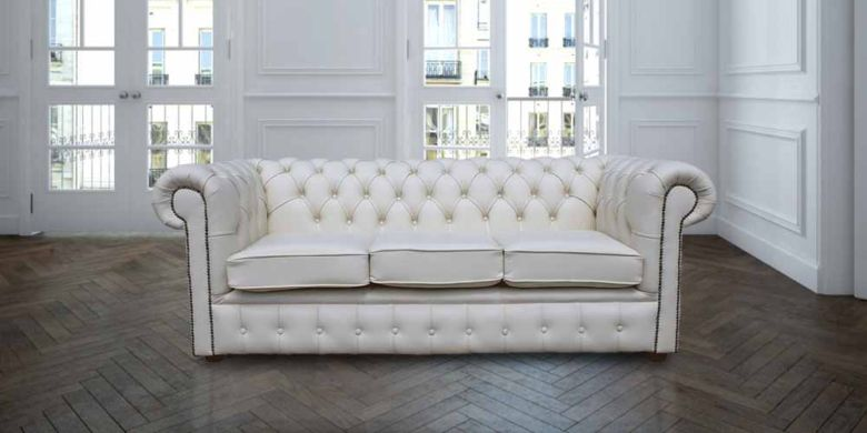 Great Chesterfield 3 Seater White Leather Sofa Offer