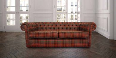 Chesterfield Arnold Wool 3 Seater Sofa Settee Tweed Sandringham Mandarin Check Fabric