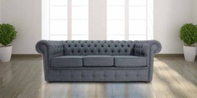 Chesterfield Arnold Wool 3 Seater Sofa Settee Glamis Glacier Grey