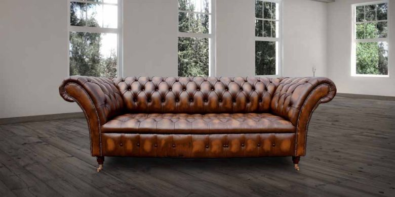 Chesterfield Balston 3 Seater Sofa Settee Button Seat Antique Tan Leather