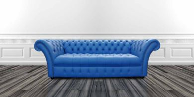 Chesterfield Balmoral 3 Seater Sofa Settee Buttoned Seat Deep Ultramarine Blue Leather