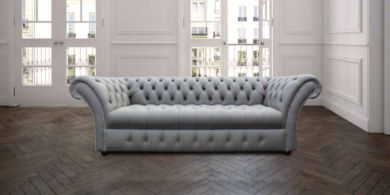 Chesterfield Balmoral 3 Seater Sofa Settee Buttoned Seat Silver Grey Leather