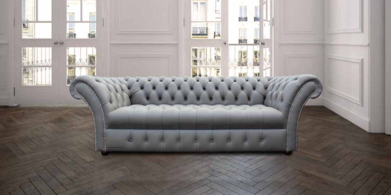 Chesterfield Balston 3 Seater Sofa Settee Buttoned Seat Silver Grey Leather