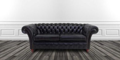 The Graduate Chesterfield 3 Seater Sofa Settee Old English Black Leather