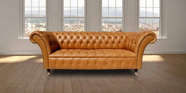 The Graduate Chesterfield Buttoned Base Vintage 3 Seater Sofa Settee Old English Buckskin Leather