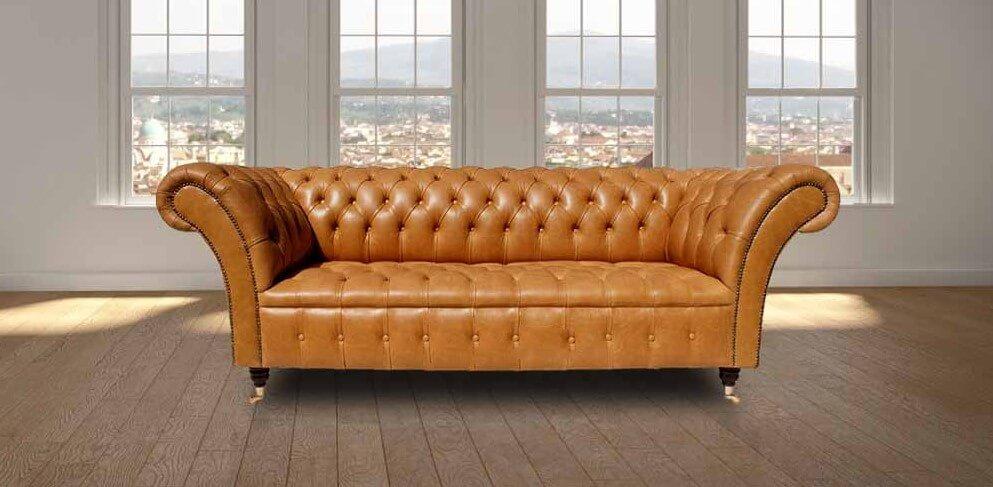 e18658117cd2 Chesterfield Balmoral 3 Seater Sofa Settee Old English Buckskin Leather