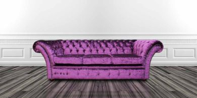 Chesterfield Balmoral Purple 3 Seater Sofa Settee Boutique Crush Velvet Fabric