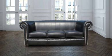 Chesterfield Berkeley 1930 3 Seater Settee Old English Black Leather Sofa
