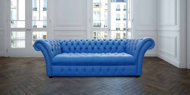 Chesterfield Blenheim 3 Seater Sofa Settee Buttoned Seat Deep Ultramarine Blue Leather