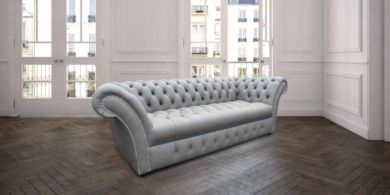 Chesterfield Blenheim 3 Seater Sofa Settee Buttoned Seat Silver Grey Leather