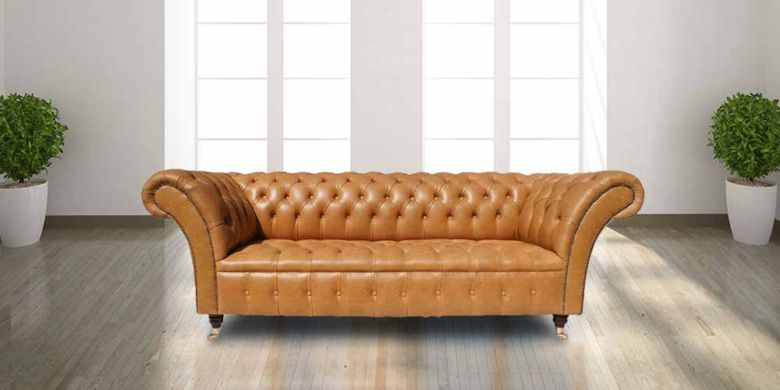 Chesterfield Blenheim 3 Seater Sofa Settee Old English Buckskin Leather
