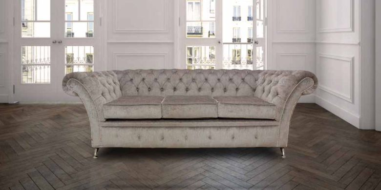 Chesterfield Cambridge 3 Seater Sofa Settee Perla Illusions Grey Fabric Chrome Feet/Studding