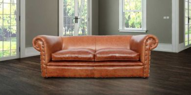 Chesterfield Decor 3 Seater Settee Old English Saddle Leather Sofa