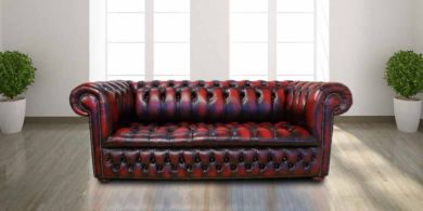Chesterfield 3 Seater Edwardian Leather Sofa Offer Antique Oxblood