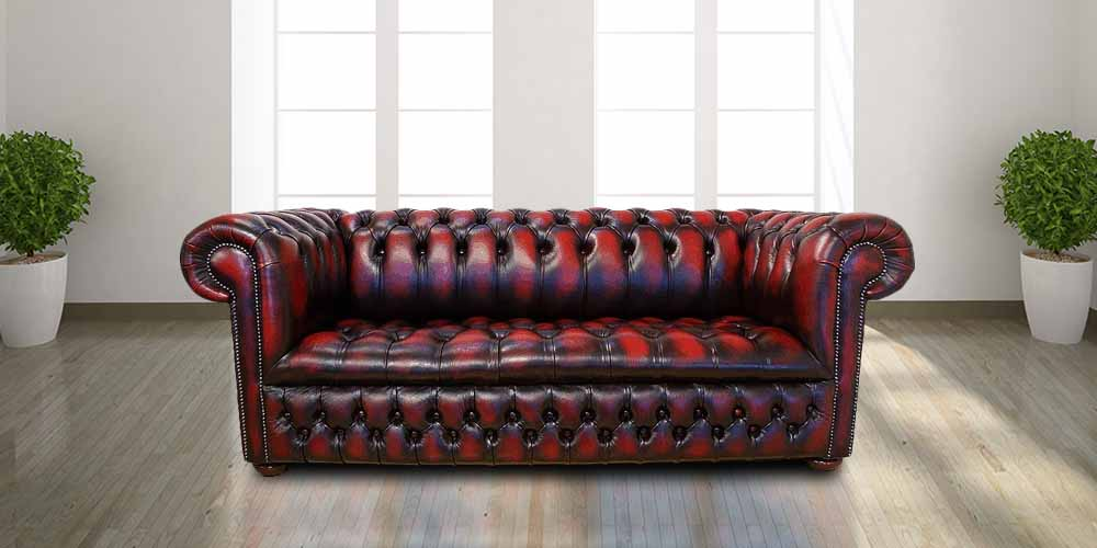 Oxblood Chesterfield Edwardian Leather sofa | DesignerSofas4U