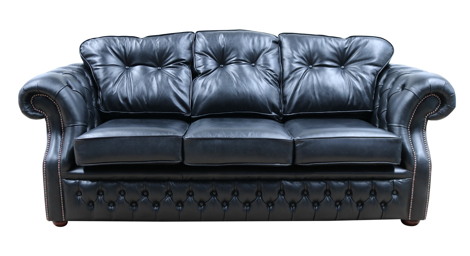 Chesterfield Era 3 Seater Sofa Old English Black Leather