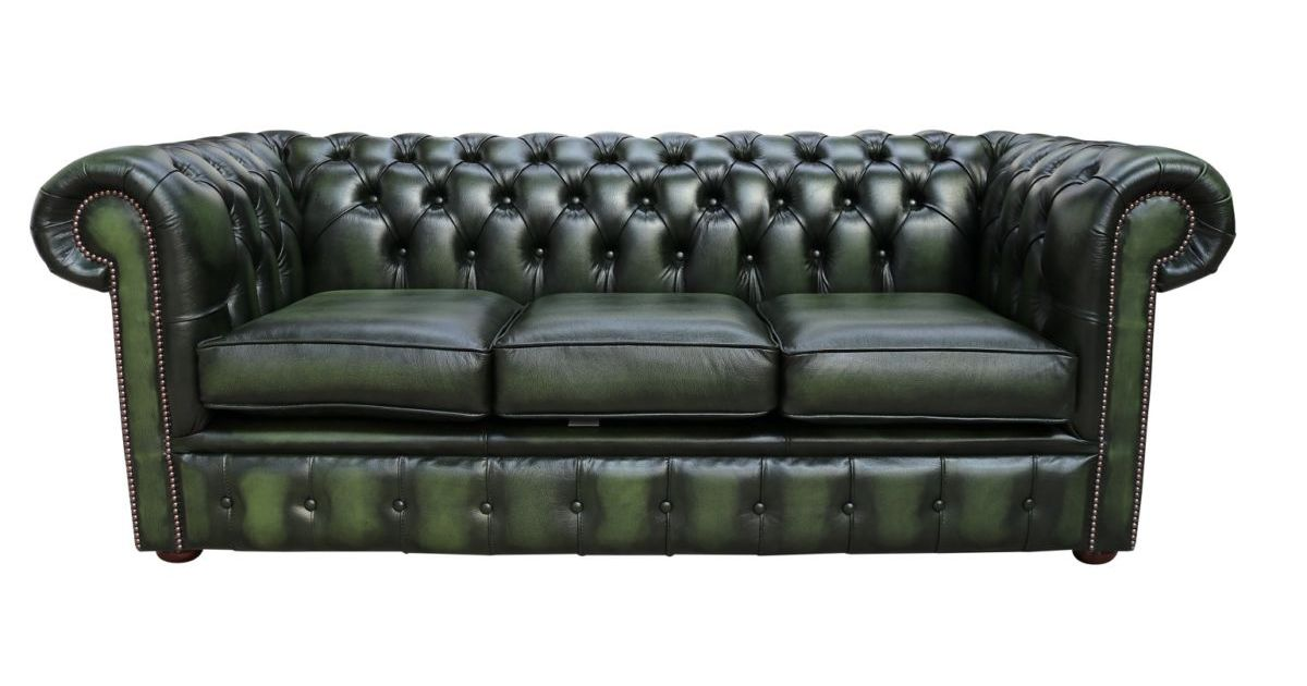 Chesterfield Handmade 3 Seater Antique, Green Leather Furniture