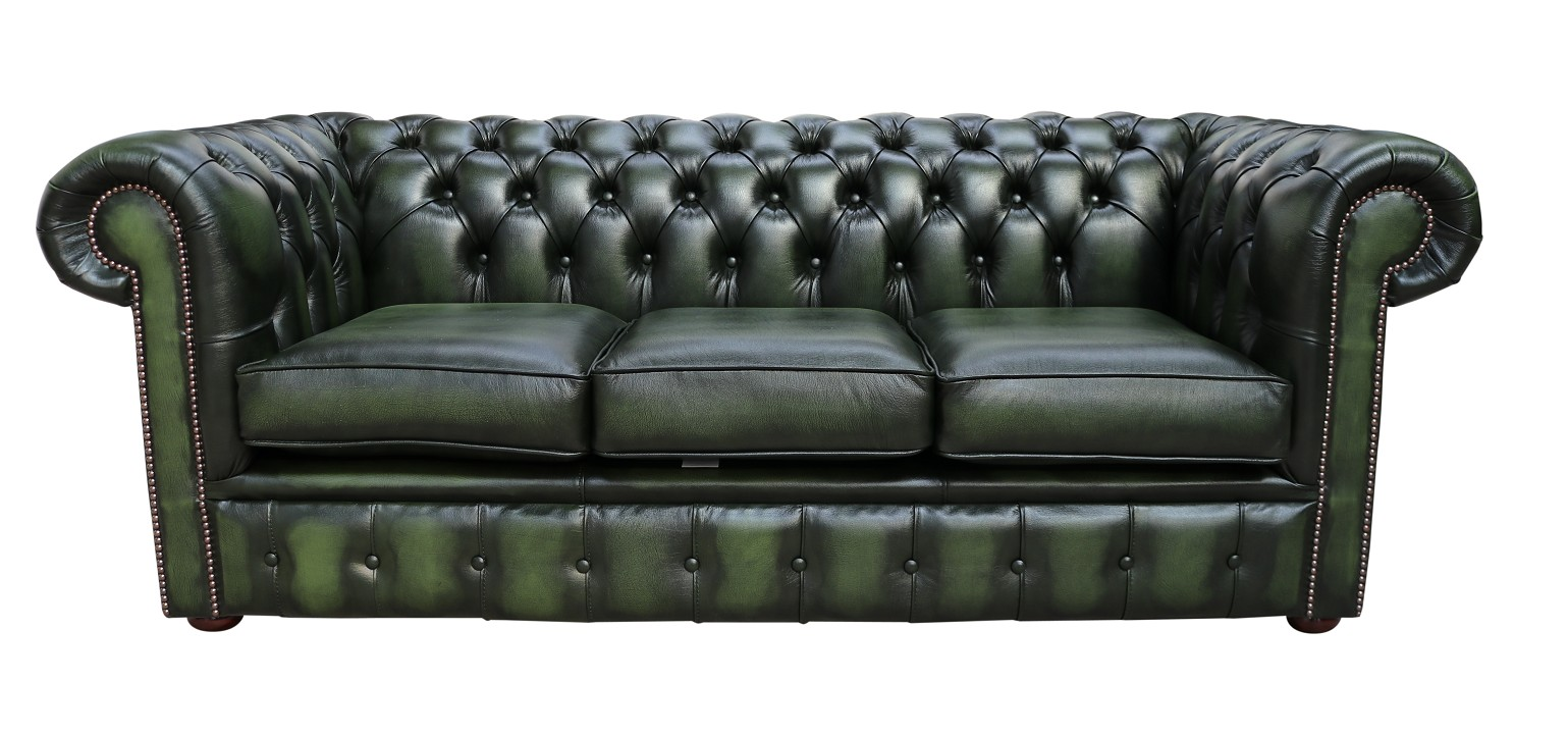 Outstanding Chesterfield 3 Seater Antique Green Leather Sofa Offer Machost Co Dining Chair Design Ideas Machostcouk