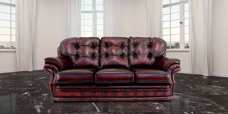 Chesterfield Knightsbridge 3 Seater Settee Traditional Chesterfield Sofa Antique Oxblood leather