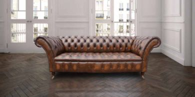 Chesterfield Lawrence 3 Seater Sofa Settee Antique Tan Leather