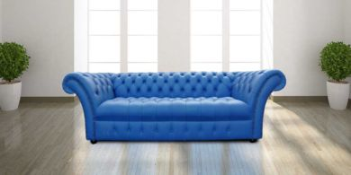 Chesterfield Lawrence 3 Seater Sofa Settee Buttoned Seat Deep Ultramarine Blue Leather