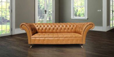 Chesterfield Lawrence 3 Seater Sofa Settee Old English Buckskin Leather