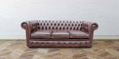 Chesterfield London 3 Seater Antique Brown Leather Sofa Settee Offer