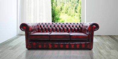 Chesterfield London 3 Seater Antique Oxblood Leather Sofa Settee Offer