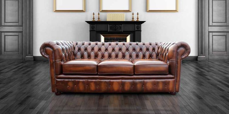 DesignerSofas4U | Buy 3 belvedere seater tan leather Chesterfield