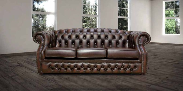 Antique Brown Leather Chesterfield Oxford 3 Seater sofa | DesignerSofas4U