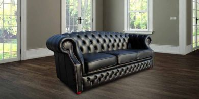 Chesterfield Oxley 3 Seater Black Leather Sofa Offer