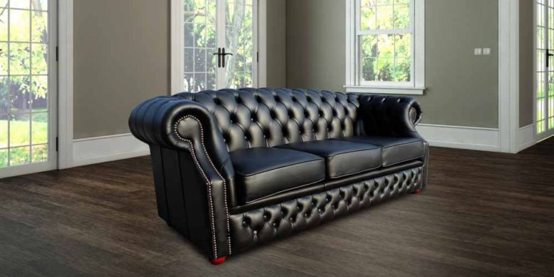 Chesterfield Oxford 3 Seater Black Leather Sofa Offer