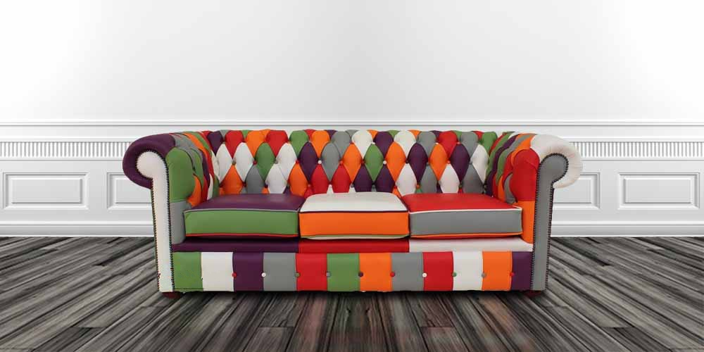Remarkable Chesterfield Patchwork 3 Seater Settee Leather Sofa Offer Home Interior And Landscaping Sapresignezvosmurscom
