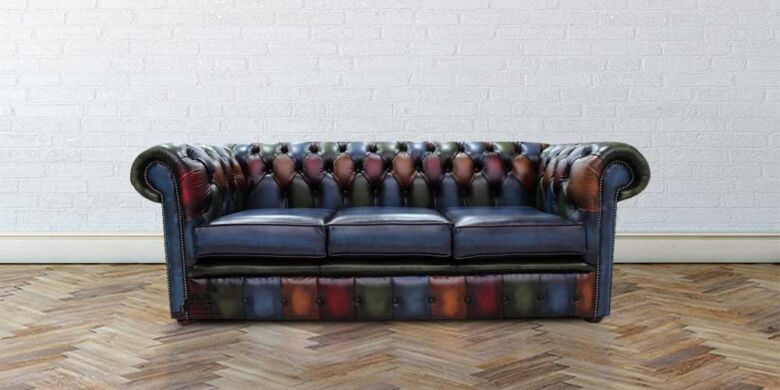 Chesterfield Patchwork Antique 3 Seater Settee Leather Sofa Offer