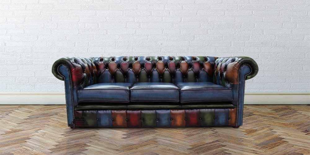 Sensational Chesterfield Patchwork Antique 3 Seater Settee Leather Sofa Offer Home Interior And Landscaping Sapresignezvosmurscom