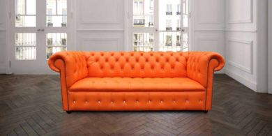 Chesterfield Crystal Diamond 3 Seater Mandarin Orange Leather Sofa Offer