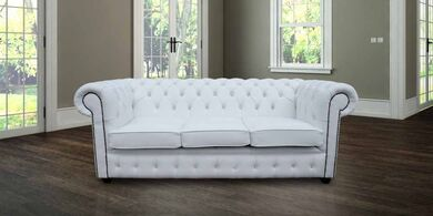 Chesterfield Crystal Diamond White Leather Sofa Offer