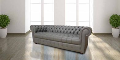 Chesterfield Thomas 3 Seater Sofa Settee Buttoned Seat Soft Iron Grey Leather Sofa Offer