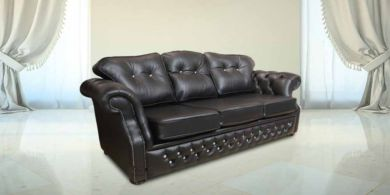 Black Leather Sofa | Era Crystal 3 Seater Chesterfield sofa Settee | DesignerSofas4U