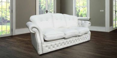 Era Crystal 3 Seater Sofa Settee Traditional Chesterfield White Leather