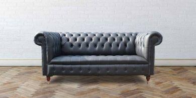 Essex Chesterfield 3 Seater Black Leather Sofa Offer
