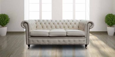 Essex Chesterfield 3 Seater Ivory Leather Sofa Offer