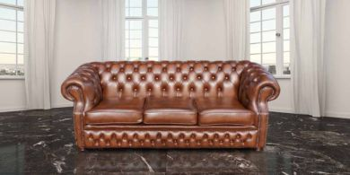 Graham Chesterfield 3 Seater Antique Tan Leather Sofa Settee Offer