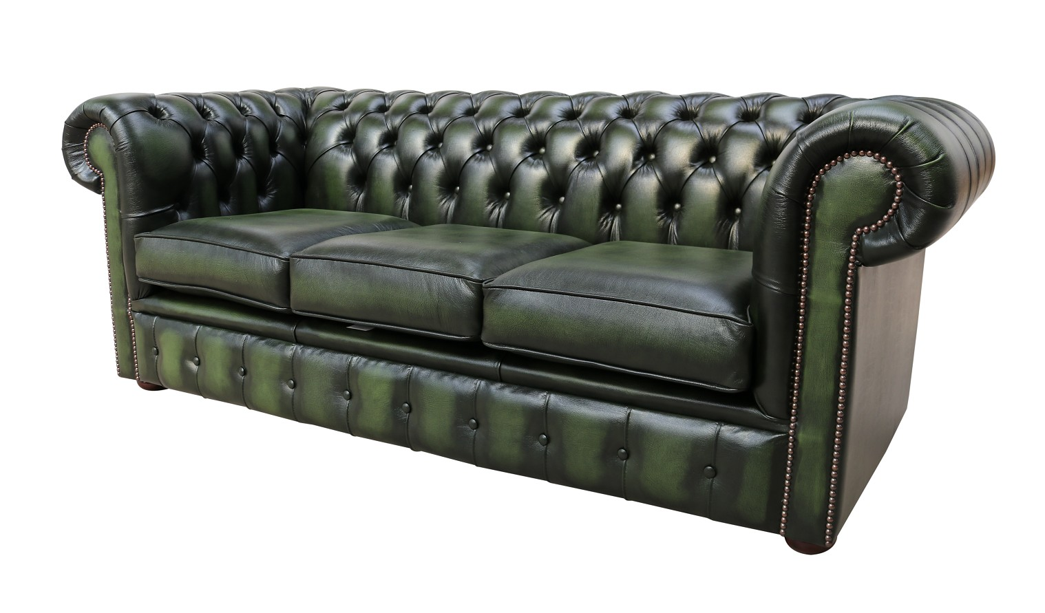Antique Green Leather Chesterfield 3 Seater sofa ...