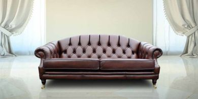 Victoria 3 Seater Chesterfield Leather Sofa Settee Antique Brown Leather