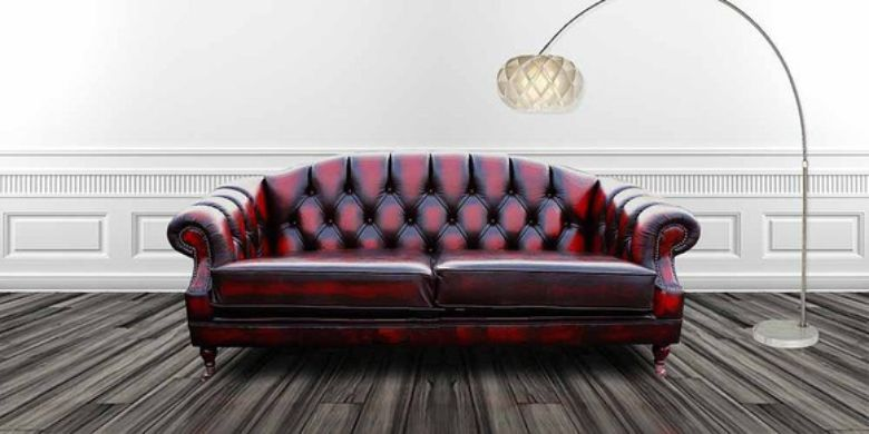 Victoria 3 Seater Chesterfield Leather Sofa Settee Antique Oxblood Leather