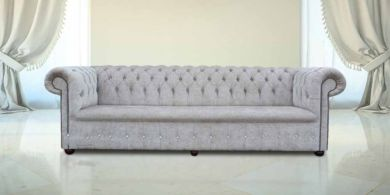 Buy mink fabric Chesterfield sofa UK with Crystals | DesignerSofas4U